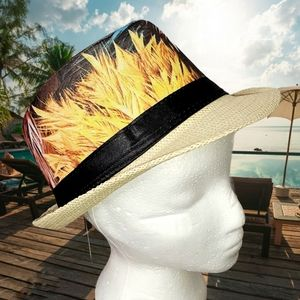 GROOVY GLAM Multicolored Feather Trilby Fedora Hat